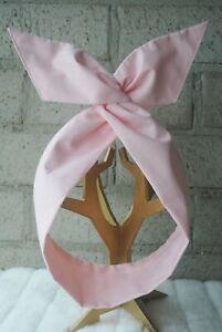 Women 100% Cotton Fabric Tie-up Wire Twist Headband I Classic Bow (Plain Pink)
