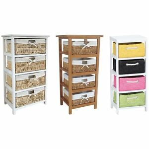 Maize Storage Unit 4 Drawer White Brown Multi-Coloured Basket Drawers Container