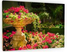 SUMMER FLOWER GARDEN CANVAS PICTURE PRINT WALL ART CHUNKY FRAME LARGE 639-2