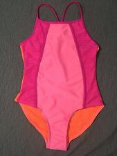 Joe Boxer Girls Pink w/Contrast Orange Trim 1 Piece Swimsuit ~Size XS