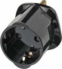Shanitech UK Visitors Travel Adaptor European Euro Schuko to (black)