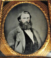 1/6 PLATE AMBROTYPE Young MAN BIG BEARD Tinted Portrait Photo Civil War Era 1860