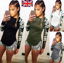 UK Womens Fashion Casual Camouflage Tops Shirt Lady T-Shirts Long Sleeve Blouse