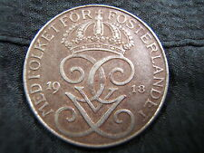 1918 Sweden Iron 5 Ore WWI era coin, Nice for this type! VF