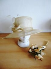 Wedding Hats Elegant Ascot Derby Hat Cream Marks & Spencer Sinamay and Feathers