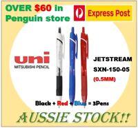 3x Uni-Ball Jetstream Pen CHOOSE COLORS Black Blue Red SXN 150 38 157S 155S 150S