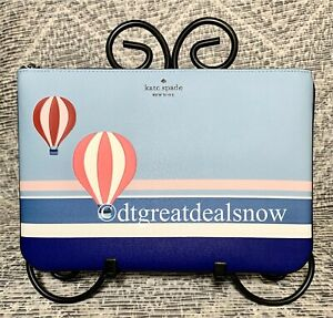 """Kate Spade """"Up up And Away"""" Hot air Balloon Large Zip Pouch NWT BLUE"""