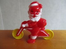Santa on Motorcycle Bike Vintage Hard Plastic Candy Container Rosen Rosbro 1940s