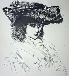 Paul César Helleu: Ellen Helleu, Girl' Artist - Engraving, 1913
