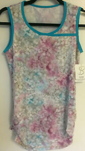 Sofibella Classic Sleeveless Athletic Top (1676)Floral Print With Turquoise Trim