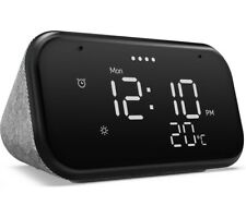 LENOVO Smart Alarm Clock Essential with Google Assistant Night Light - Grey NEW