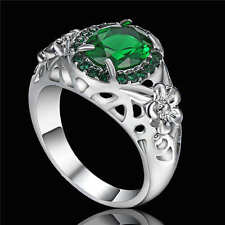 Delicate Emerald 18K white gold filled Women's Memorial Wedding Rings Gift Size7