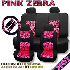 Mesh Animal Seat Cover Set Pink Zebra Foam Padded 4 Headrests Steering Wheel CS1