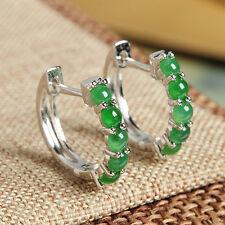 REAL 925 Sterling Silver Natural Grade A Jadeite Green Beads Hoop Earrings