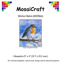 MosaiCraft Pixel Craft Mosaic Art Kit 'Winter Robin' Pixelhobby like Mini Mosaic