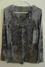 New with tag! Be Green! Soft Recycled poly Long Sleeve Top Shirt with studs