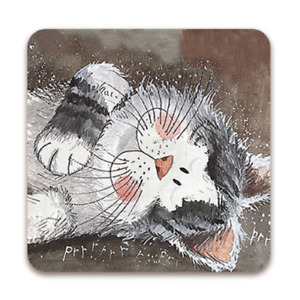 "Alex Clark Cat Kitten Drinks Coaster Table Protector ""Taking It Easy"" Home Decor"