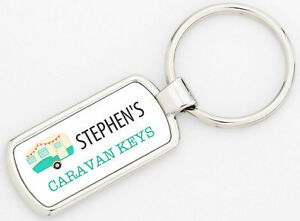 Rectangle Personalised Blue Caravan Metal Keyring Metal Supplied With Gift Box