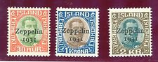 ICELAND MAY 25th 1931 ZEPPELIN SET MNH / MLH                              H1031