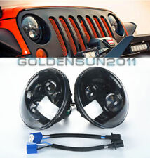 """LED 7"""" Round LED Projector Headlights Black Housing Low/High H6024 H6012 (Pair)"""