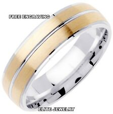 7MM WIDE MENS 10K WHITE AND YELLOW GOLD WEDDING BANDS