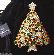 Signed Swan Swarovski 1998 Multi Colored Christmas Tree Pin