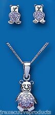 Child's Teddy Bear Silver Children's Crystal Teddy Bear Pendant & Earring Set