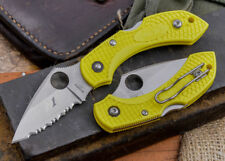 "Spyderco Dragonfly2 Salt Pocket Knife 2.2"" H1 Steel Leaf Blade Yellow FRN Handle"
