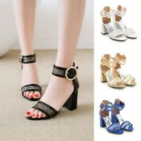 New Womens Ankle Strap Block High Heels Peep Toe Lace Mesh Sandals Casual Shoes