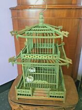 Vintage Chinese Bamboo Birdcage Bird Cage with 2 Porcelain Feeders Bird House