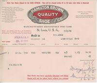 1909 Hamilton Brown Quality Shoe Co. Billhead St. Louis Missouri Letterhead