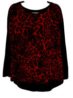 Michael Michael Kors Red Animal Print Hi/Lo Top With Solid Black Back Size 1X