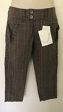 Mexx Brown checkard Crop Trousers Uk Size 6 Will Fit Size 8