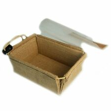 2 x Small Jute Plain Display Gift  Boxes With Plastic Clear Cover Gift Tray