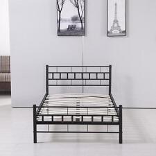 Twin Size Wood Slats Steel Bed Frame Platform Headboard Footboard Bedroom Black