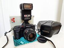 Vintage YASHICA 200-AF 35mm film SLR camera kit with lens, flash & Extras
