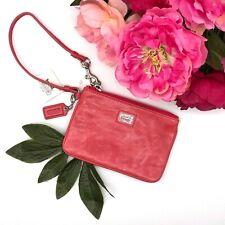 NWT Coach Poppy Camelia Leather Wristlet Handbags Pink Wallet Mini Zip Casual