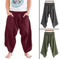 Mens Loose Casual Baggy Yoga Pants Hippie Harem Gypsy Thai Cotton Pants Trousers