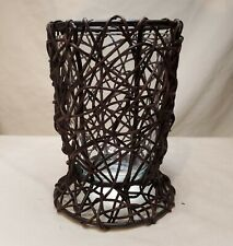 """Black Metal and Brown Vine Glass Insert Vase/ Candle Holder 7"""" Tall"""