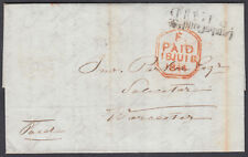 1844 London to Worcester Entire; scarce LONDON RD WORCESTER UDC/Undated Circle