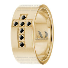 Religious Cross With Black Diamond Wedding Ring 14K Gold Mens Wedding Band 8mm