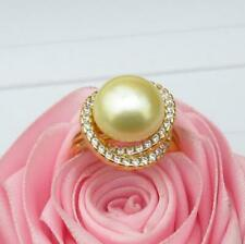 Charming AAA++ 12-13mm South Sea Genuine Yellow Pearl Ring Size Adjustable