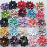40pcs U pick satin ribbon flowers bows with Appliques Sewing Craft DIY W OUY
