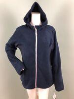 NWT Women's Reebok Navy Blue Zip Up Hooded Fleece Jacket Sz Large