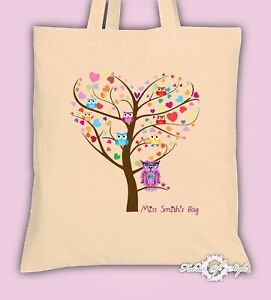 PERSONALISED Tote Bag Thank You Teacher School Gift  Heart Tree Natural