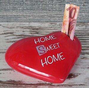 Spardose Herz rot Home Sweet Home Geldgeschenk Sparschwein Keramik mit Schloss