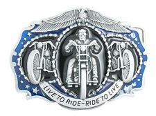 Live To Ride-Ride To Live Motorcycle Biker Blue/Black Enamel Metal Belt Buckle