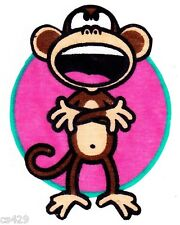 "3"" Bobby jack monkey text me arms cross wall safe fabric decal cut out character"