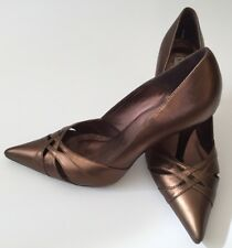 Steve Madden Womens Shoes 'Adalia' Leather 3.5 in Heel Pointed Toe SZ 9.5 Bronze