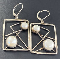 Vintage Sterling Silver 925 JS Cultured Pearl Free Form Modernist Earrings